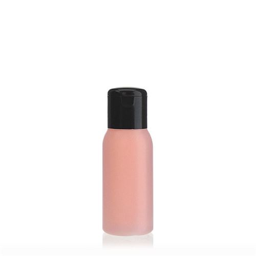 "50ml HDPE-flaske ""Tuffy"" natur/sort, med klaplåg"