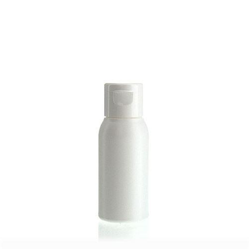 """50ml bottiglia HDPE """"Tuffy"""" bianco con tappo Flip top"""