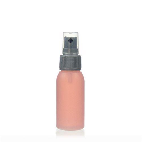 """50ml bottiglia HDPE """"Tuffy"""" natura/argento con erogatore spray"""