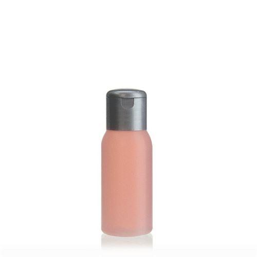"""50ml bottiglia HDPE """"Tuffy"""" natura/argento con tappo Flip top"""