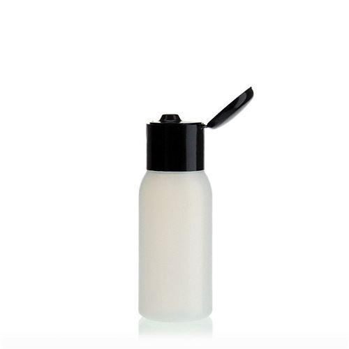 """50ml bottiglia HDPE """"Tuffy"""" natura/nero con tappo Flip top"""