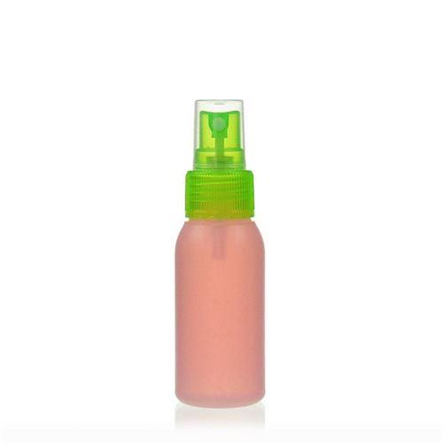 """50ml bottiglia HDPE """"Tuffy"""" natura/verde con erogatore spray"""
