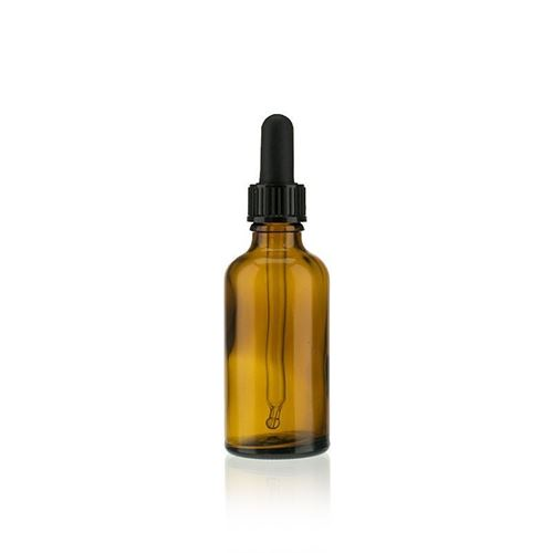 50ml bruin medicijn flesje met zwart pipet