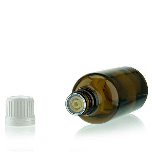 50ml brun medicinflaske, med dråbetæller