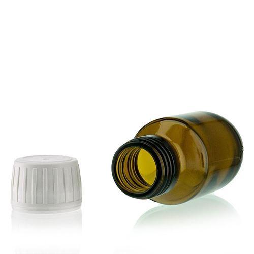 50ml bruin medicijn flesje met originaliteit sluiting van 28mm