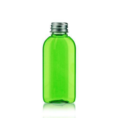 "50ml oval PET-flaske ""Iris"", aluminiumsskruelåg"