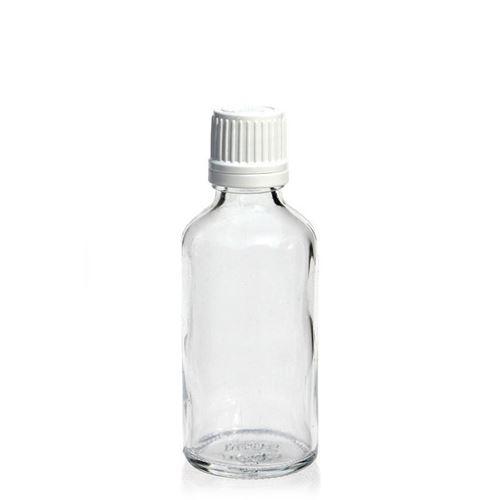 50ml klare Medizinflasche mit 18mm-Originalitätsverschl.
