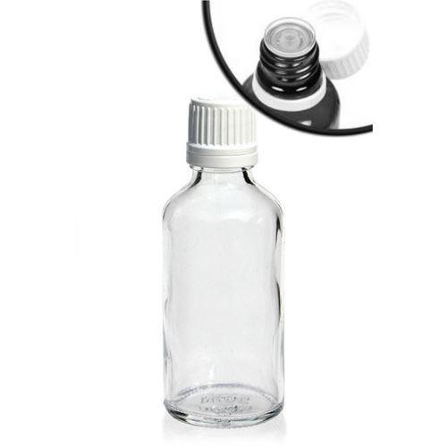 50ml flacon de médecine clair avec compte gouttes