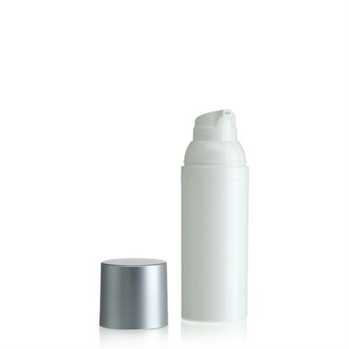 50ml airless pump white/silver cap