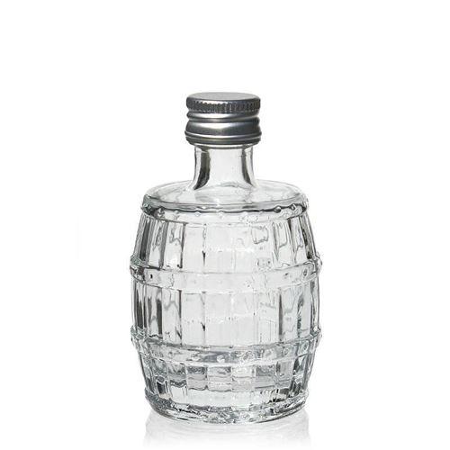 "50ml Klarglasflasche ""Fass"""