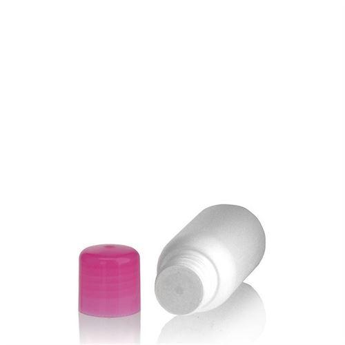 """50ml HDPE-flaske """"Tuffy"""" lyserød, med sprøjteindsats"""