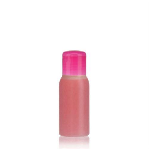 """50ml HDPE-flaske """"Tuffy"""" natur/lyserød, med klaplåg"""