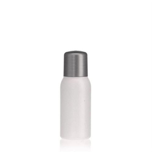 """50ml HDPE-flaske """"Tuffy"""" natur/sølv, med sprøjteindsats"""