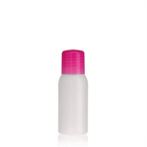 """50ml HDPE-fles """"Tuffy"""" natuur/roze met doseerkop"""
