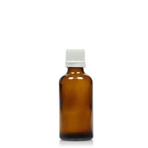 50ml braune Medizinflasche mit 18mm-Originalitätsverschl.