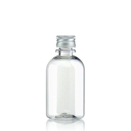 """50ml PET-flaske """"Easy Living"""", med aluminiumskruelåg, klar"""