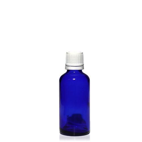 50ml blaue Medizinflasche mit 18mm-Originalitätsverschl.