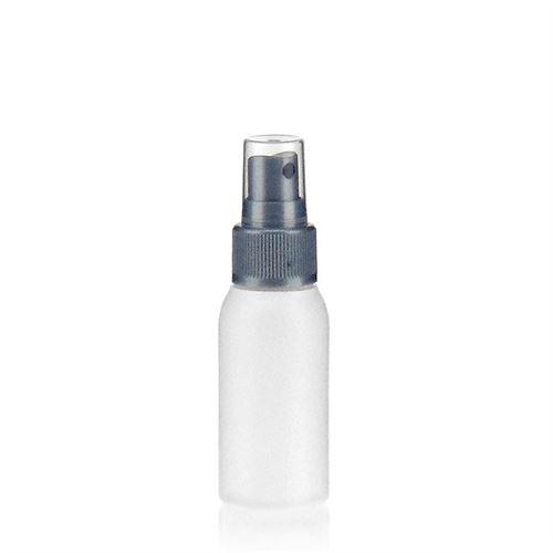 """50ml botella HDPE """"Tuffy"""" argénteo con rociador"""