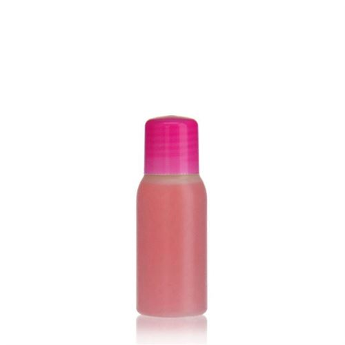 "50ml botella HDPE ""Tuffy"" natural/rosa con cierre para chorrear"