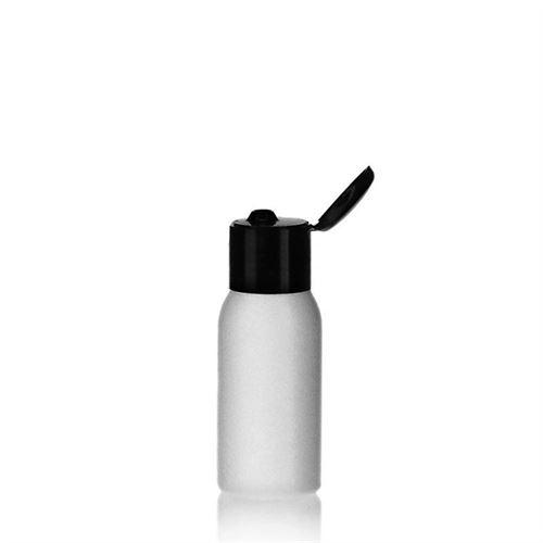 """50ml botella HDPE """"Tuffy"""" negro con tapón bisagra"""