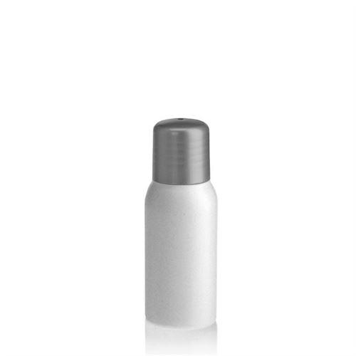 """50ml bottiglia HDPE """"Tuffy"""" argento con chiusura a spruzzo"""