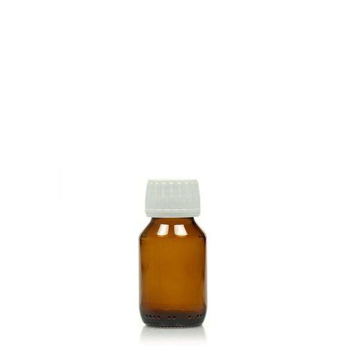 50ml bottiglia medica marrone con una chiusura originale di 28mm