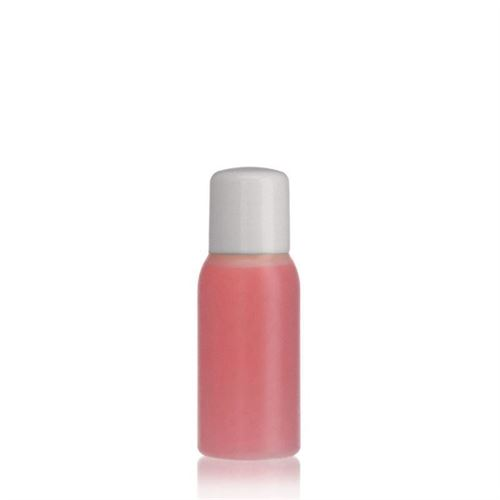 "50ml bouteille HDPE ""Tuffy"" nature/blanc avec doseur"