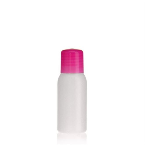 """50ml bouteille HDPE """"Tuffy"""" nature/rose avec doseur"""