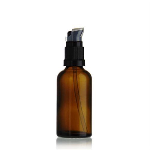 50ml bottiglia per medicina marrone con pompa a lozione nera
