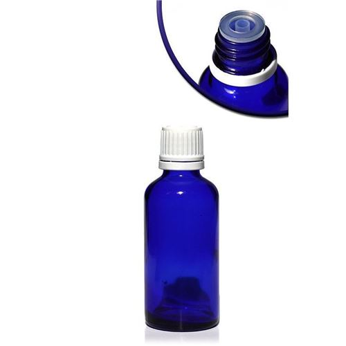 50ml blauw medicijn flesje met druppelteller