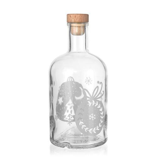 """700ml Weihnachtsflasche """"Baumschmuck"""" weiß"""