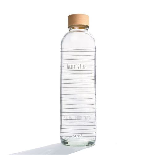 """700ml CARRY glas drikkeflaske """"Water Is Life"""""""
