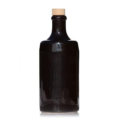 """700ml bouteille en céramique """"noir-brillant"""" avec liège"""