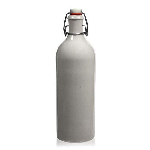 """750ml Bottiglia in Ceramica con chiusura meccanica, """"bianca"""""""