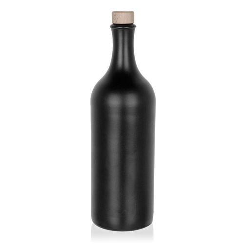 750ml Langhals-Steinzeugkrug schwarz-matt Kork