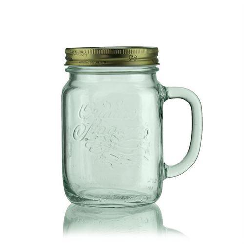 """750ml glas med hank """"4 årstider"""", i klart glas"""