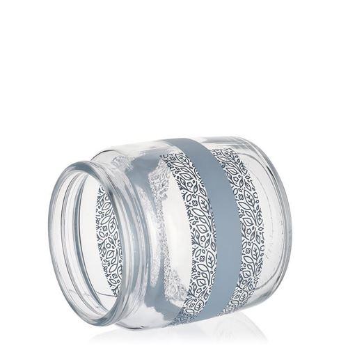 "750ml glasdåse med tryk ""Fogliami Blu"""