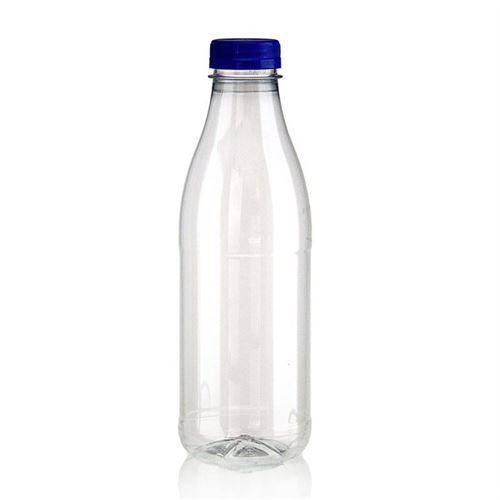 """750ml Botella PET con gollete ancho """"Milk and Juice"""" azul"""