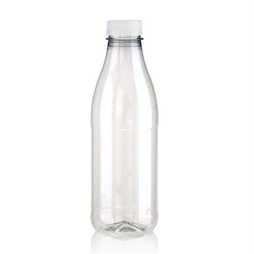 "750ml Botella PET con gollete ancho ""Milk and Juice"" blanco"