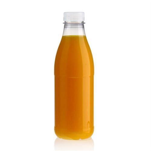 """750ml Bottiglia PET a collo largo """"Milk and Juice"""" bianco"""