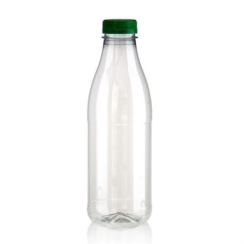 """750ml bouteille col large PET """"Milk and Juice"""" vert"""