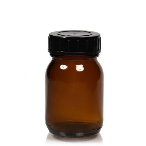 75ml brunt glas, med bred hals