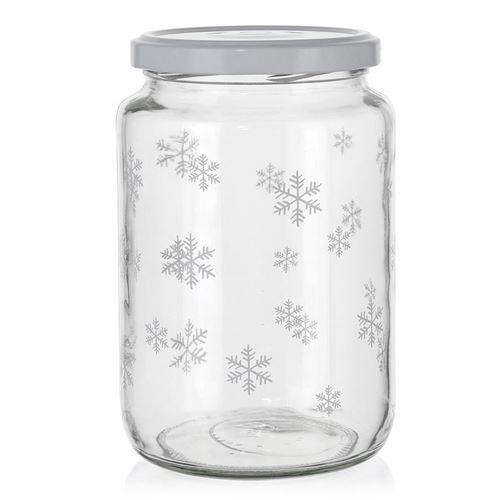 """795ml Christmas jar """"Snowflakes"""" white"""