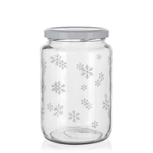"""795ml Weihnachtsglas """"Schneeflöckchen"""" weiß"""