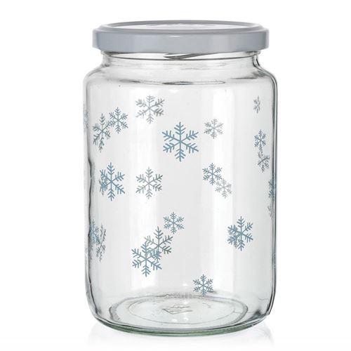 """795ml juleglas """"Snefnug"""", blåt"""