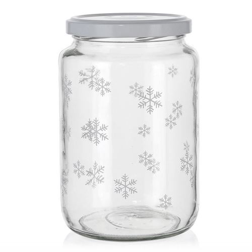 "795ml kerstpot ""Sneeuwvlok"" wit"