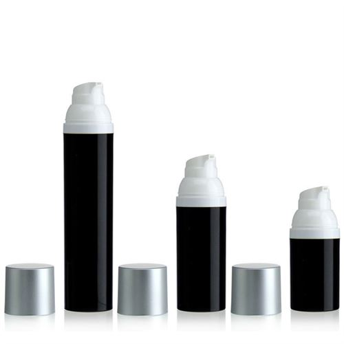 "30ml dispenser ""Airless"" black/silver cap"
