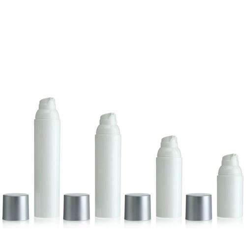 100ml airless pump white/silver cap