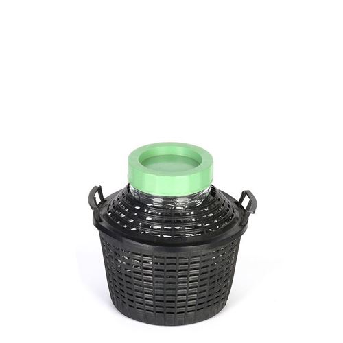 Ballonflasche Weithals 5 Liter mit Plastikkorb