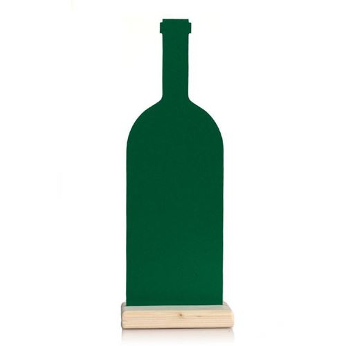 """Bord """"Wijnfles"""" groen op voetje"""
